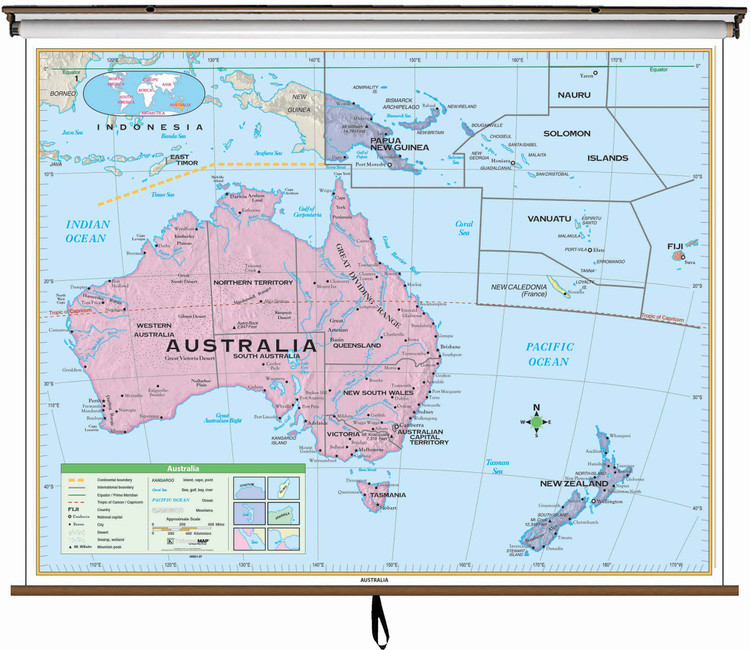 Essential Australia Political Map on Spring Roller from Kappa Maps