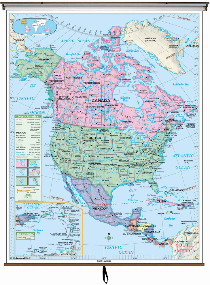 Essential North America Map on Spring Roller from Kappa Maps