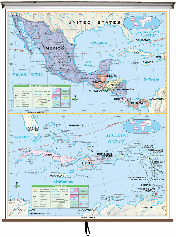 Essential Central America & Caribbean Map on Spring Roller
