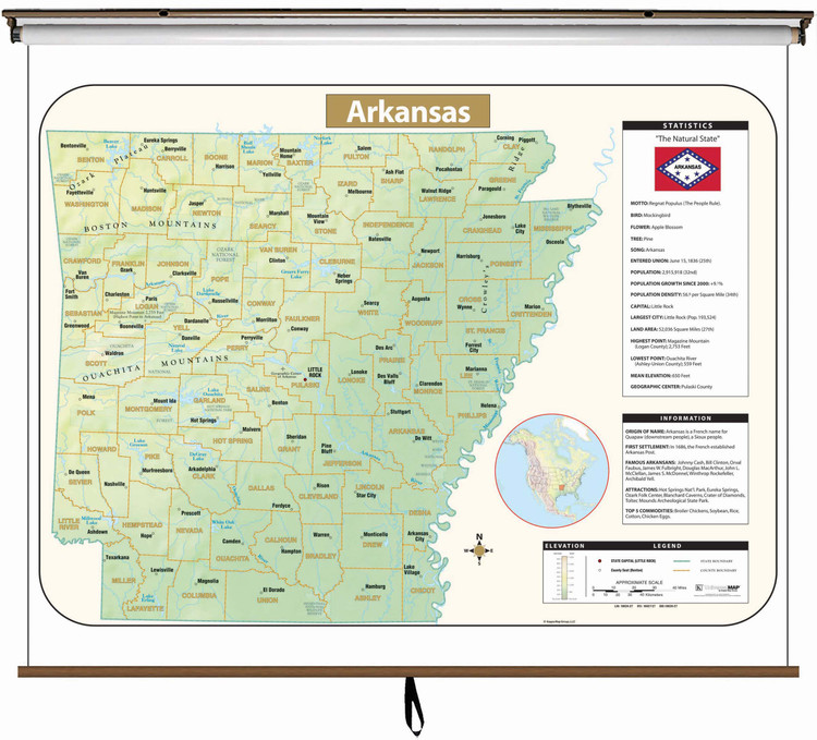 Arkansas Large Shaded Relief Map on Spring Roller from Kappa Maps