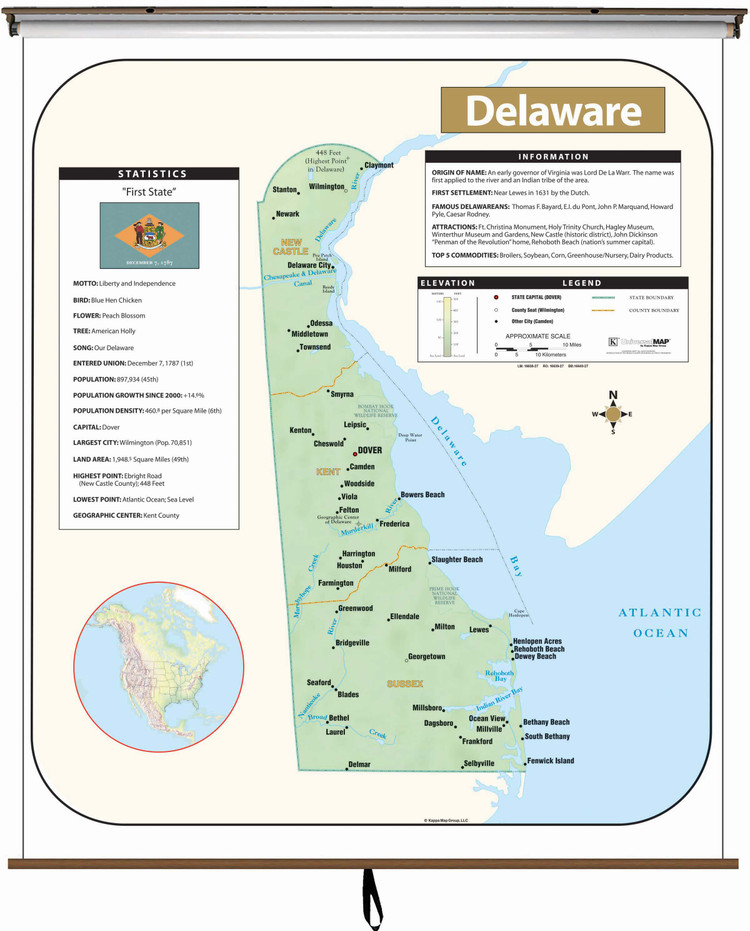 Delaware Large Shaded Relief Map on Spring Roller from Kappa Maps