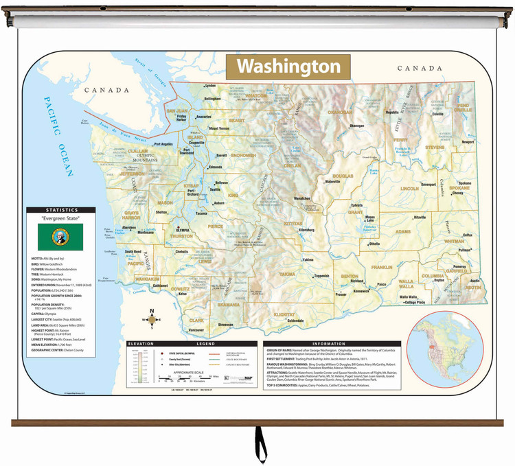 Washington State Large Shaded Relief Map on Spring Roller from Kappa Maps
