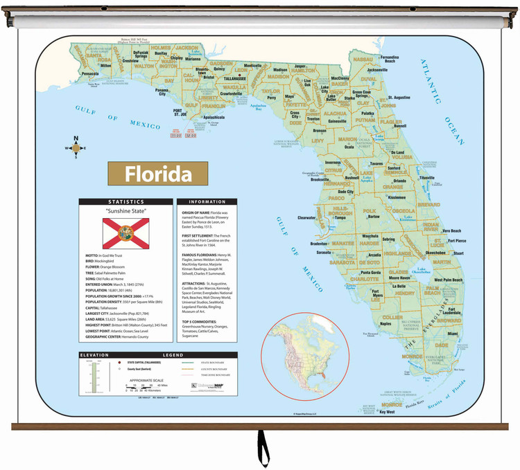 Florida Large Shaded Relief Map on Spring Roller from Kappa Maps