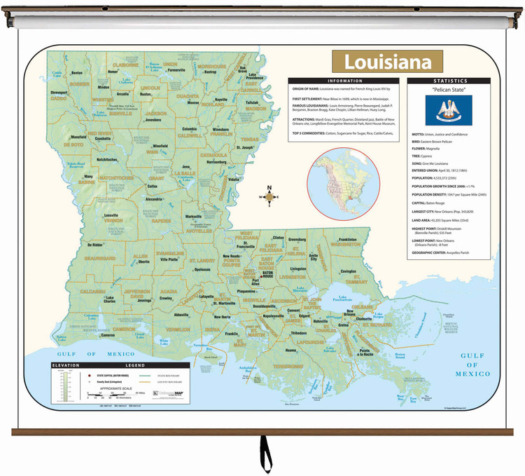 Louisiana Large Shaded Relief Map on Spring Roller from Kappa Maps