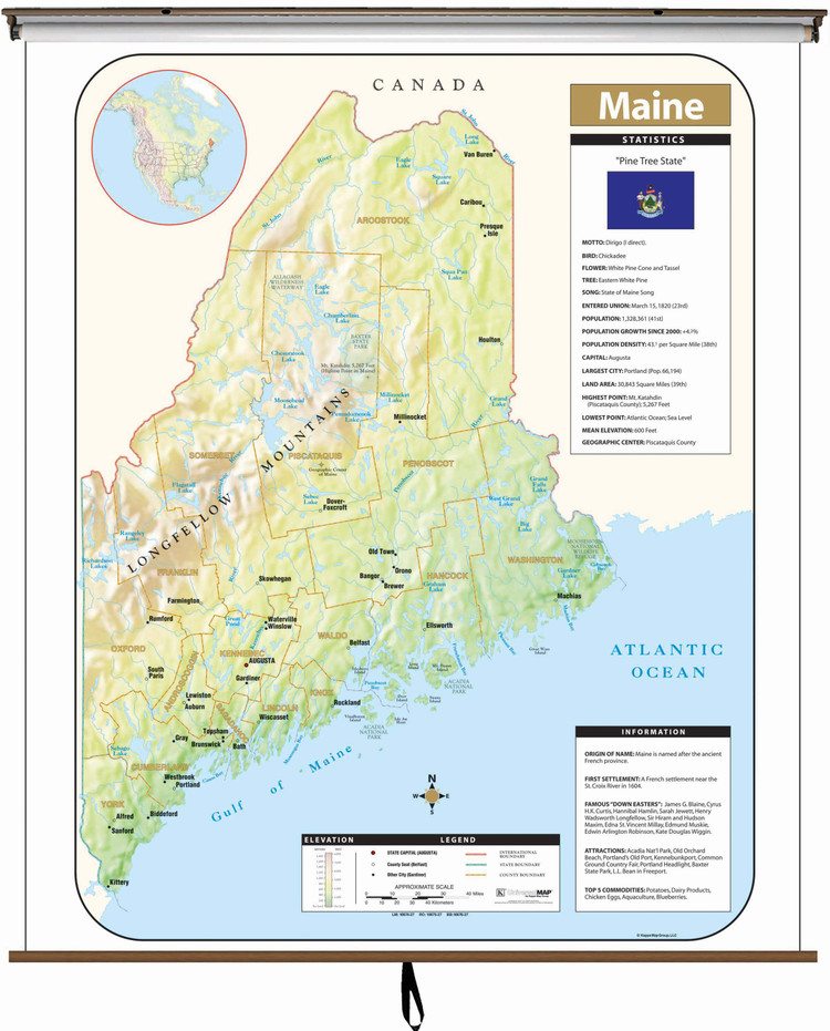 Maine Large Shaded Relief Map on Spring Roller from Kappa Maps