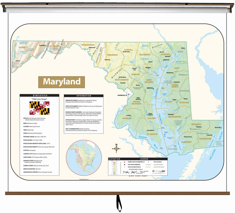 Maryland Large Shaded Relief Map on Spring Roller from Kappa Maps