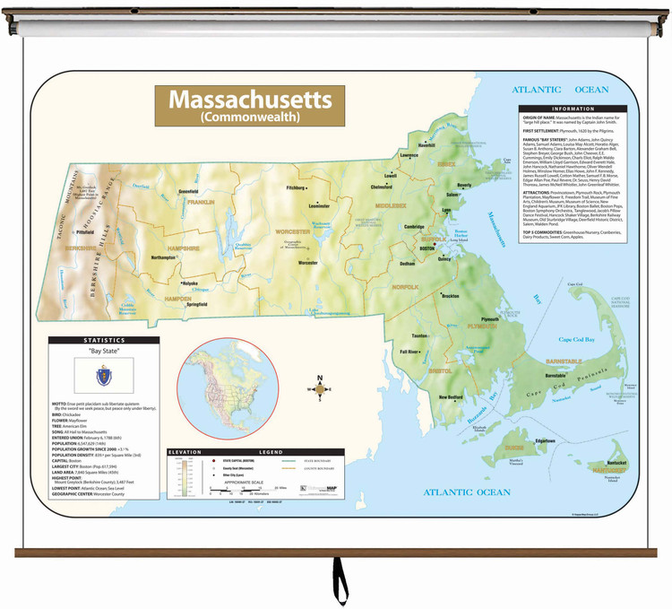 Massachusetts Large Shaded Relief Map on Spring Roller from Kappa Maps
