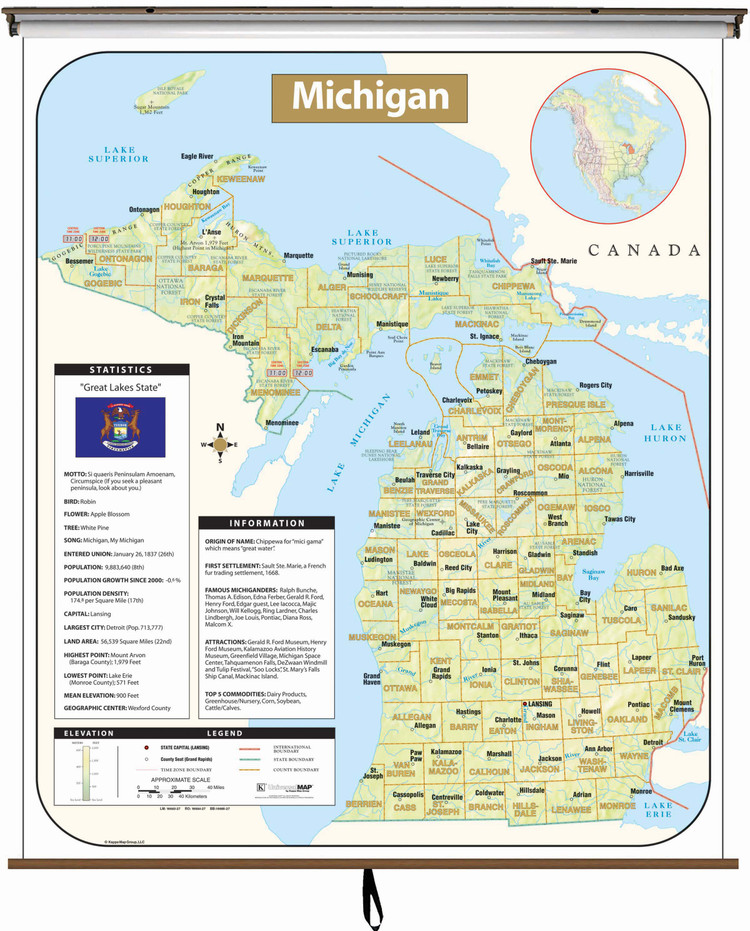 Michigan Large Shaded Relief Map on Spring Roller from Kappa Maps