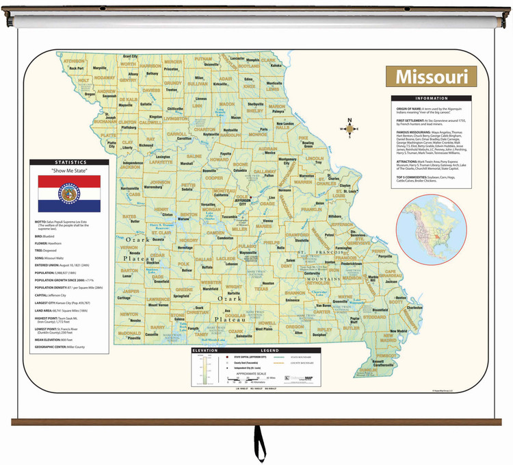 Missouri Large Shaded Relief Map on Spring Roller from Kappa Maps