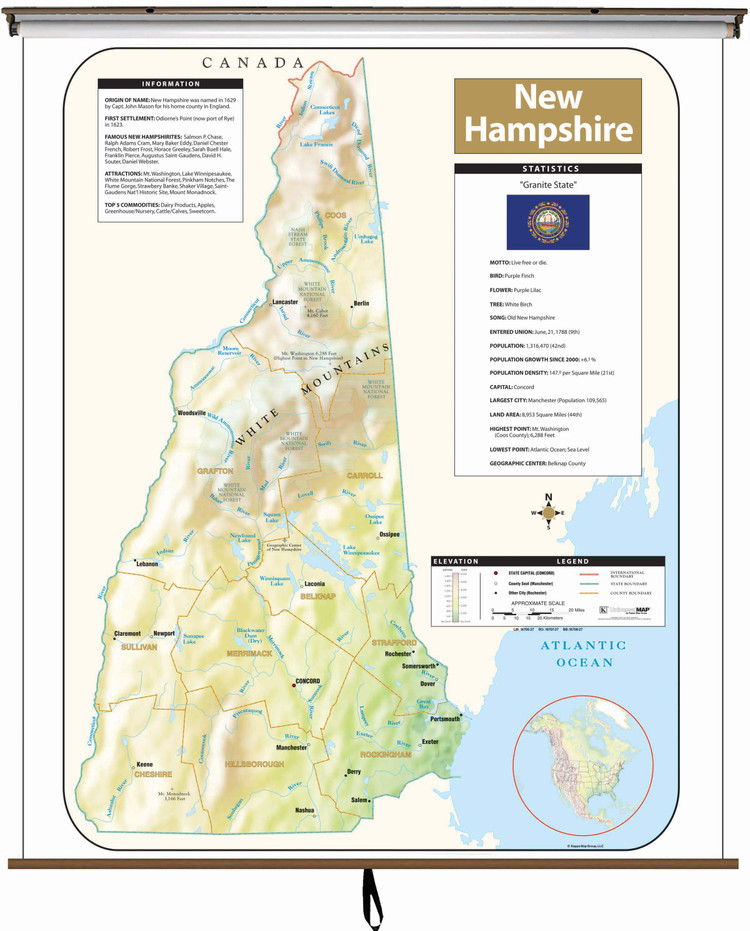 New Hampshire Large Shaded Relief Map on Spring Roller from Kappa Maps