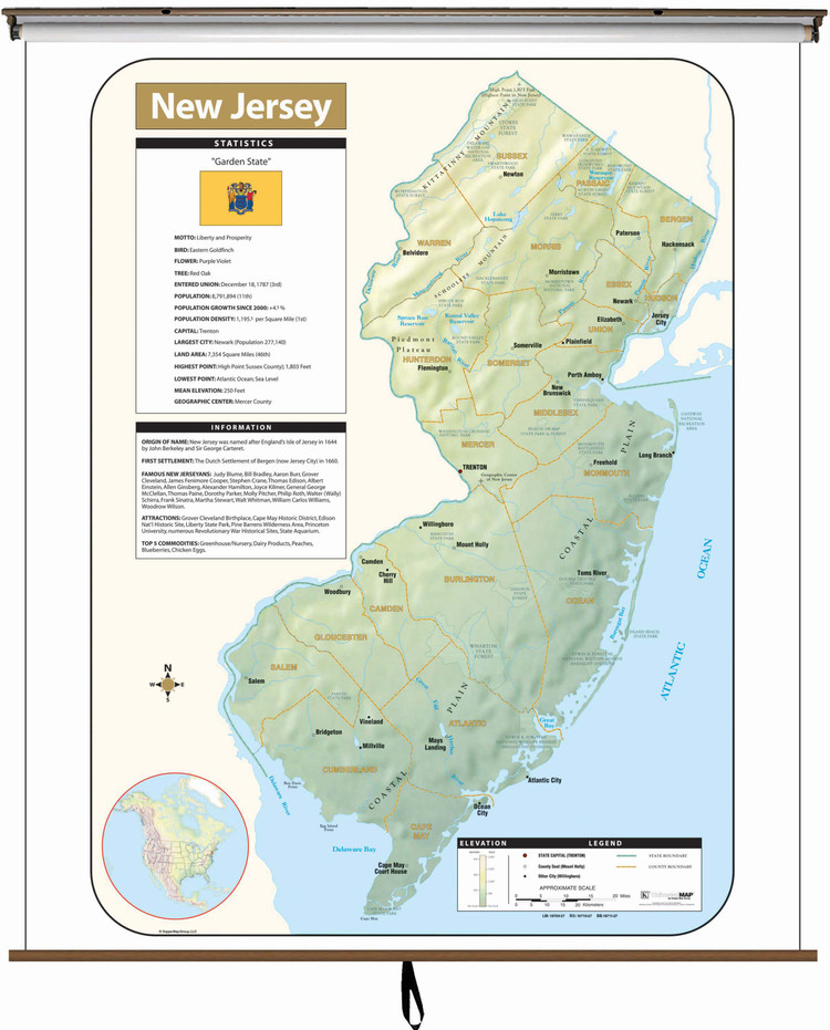 New Jersey Large Shaded Relief Map on Spring Roller from Kappa Maps