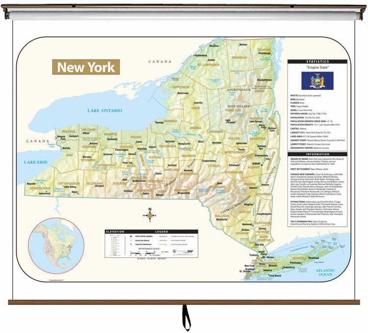 New York Large Shaded Relief Map on Spring Roller from Kappa Maps