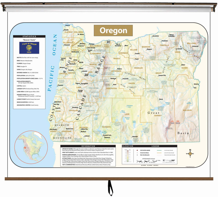 Oregon Large Shaded Relief Map on Spring Roller from Kappa Maps