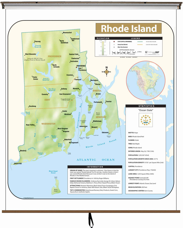Rhode Island Large Shaded Relief Map on Spring Roller from Kappa Maps