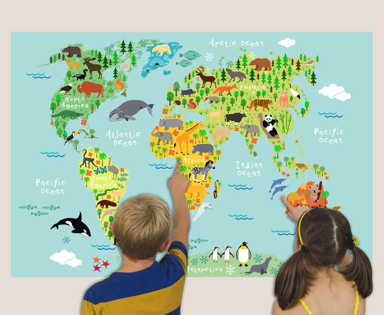 Kids Illustrated Animals of the World Map Mural - Colorful Continents