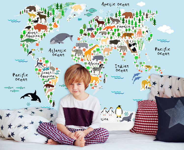 Kids Illustrated Animals of the World Map Mural - Pale Blue Oceans