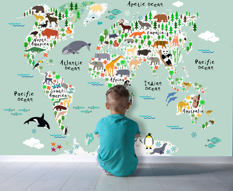 Kids Illustrated Animals of the World Map Mural - Seafoam Green Oceans