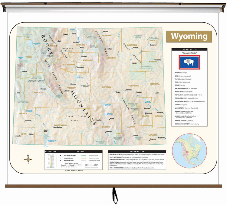 Wyoming Large Shaded Relief Map on Spring Roller from Kappa Maps