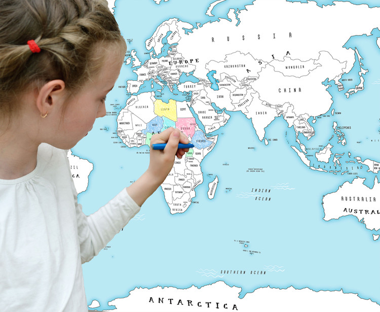 World Coloring Map for Kids - Blue Oceans Wall Decal Map