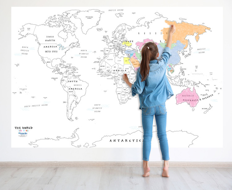 World Coloring Map for Kids -  Wall Decal Map