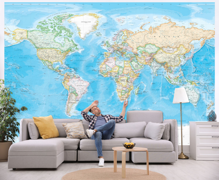 Standard Blue Ocean World Political Map Wall Mural