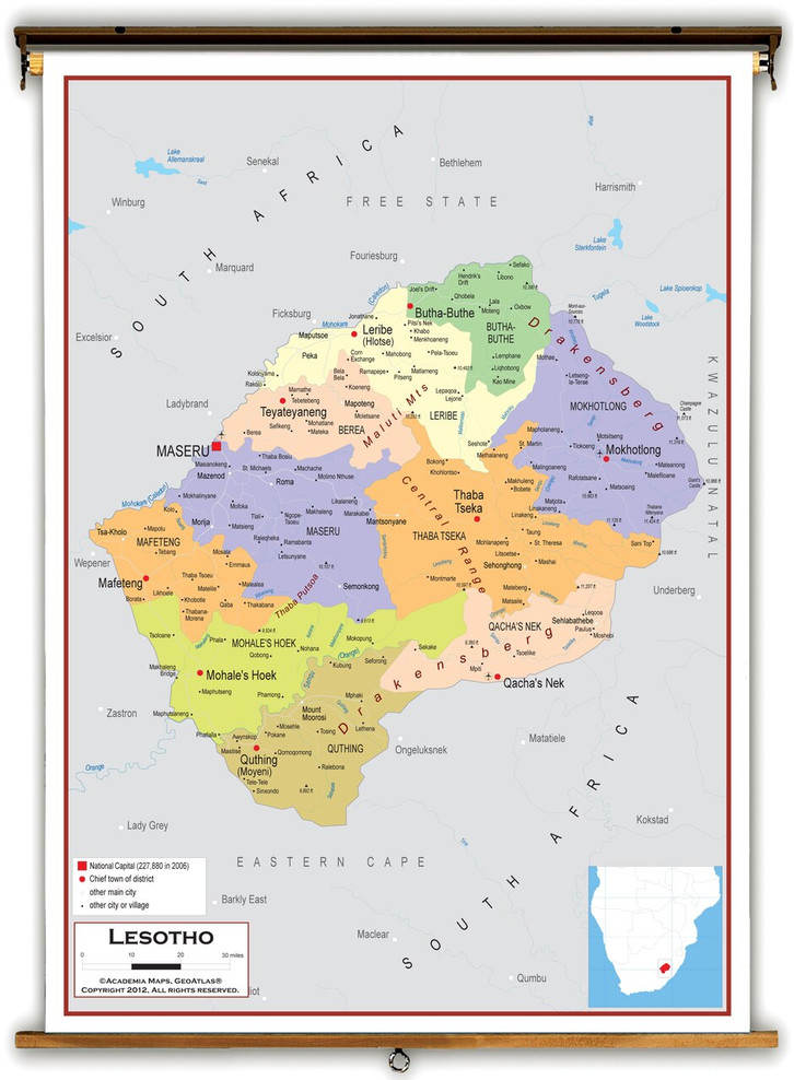 Lesotho Political Educational Map from Academia Maps