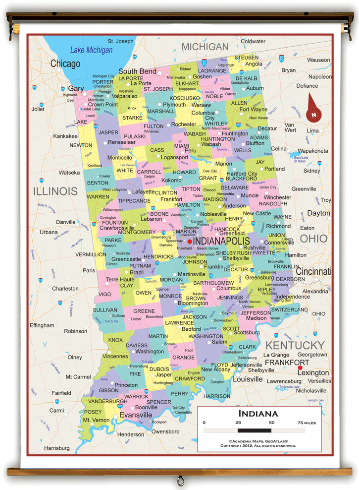 Indiana Political Pull-Down Map