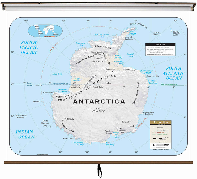 Antarctica Large Shaded Relief Map on Spring Roller from Kappa Maps