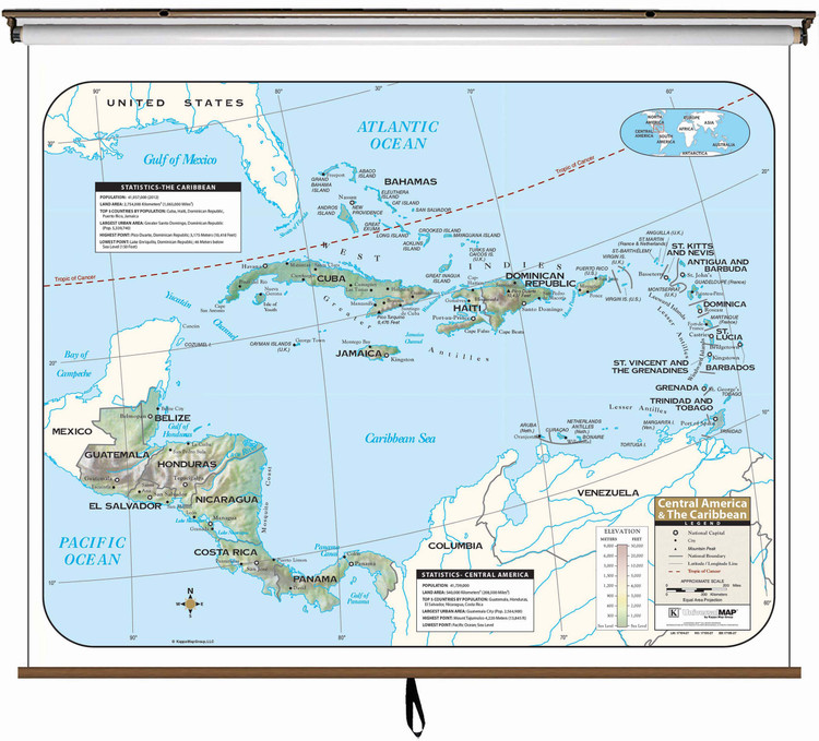 Central America Classroom Maps Indvidually Mounted On Spring Rollers
