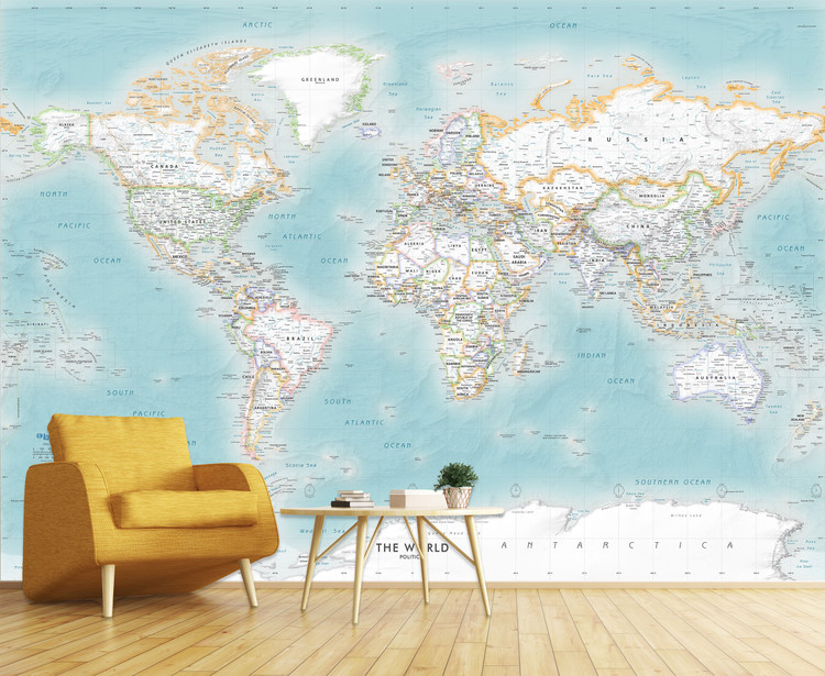 Aqua Marine Blue Ocean World Political Map Wall Mural