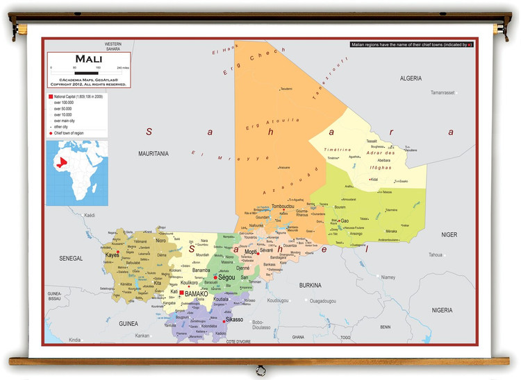 Mali Political Educational Map from Academia Maps