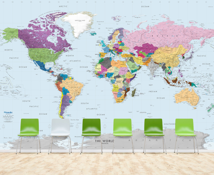 Giant Colorful Detailed World Political Map Wall Mural - Removable Wallpaper