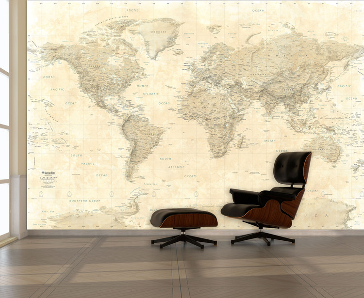 Sepia Tones World Political Map Wall Mural