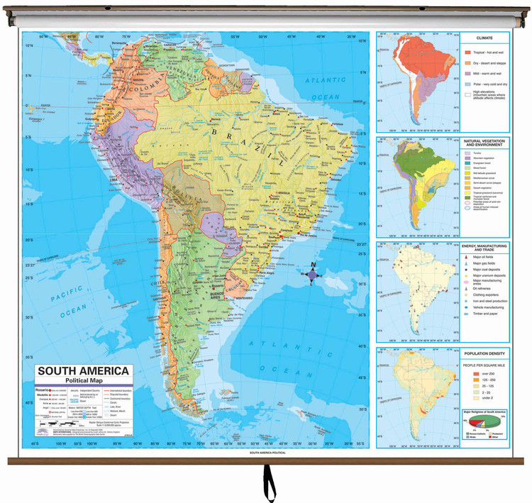 Advanced South America Political Map on Spring Roller from Kappa Maps