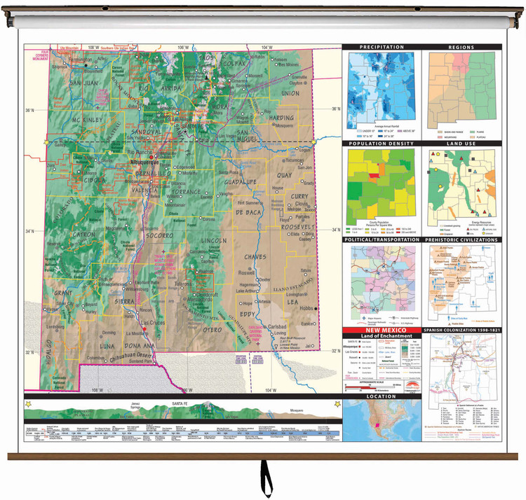 New Mexico State Thematic Classroom Map on Spring Roller from Kappa Maps