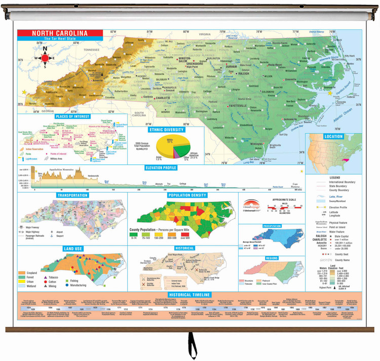 North Carolina State Thematic Classroom Map on Spring Roller from Kappa Maps