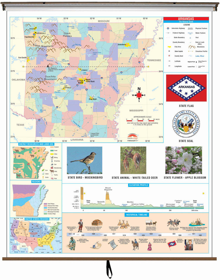 Arkansas State Primary Thematic Classroom Map on Spring Roller from Kappa Maps