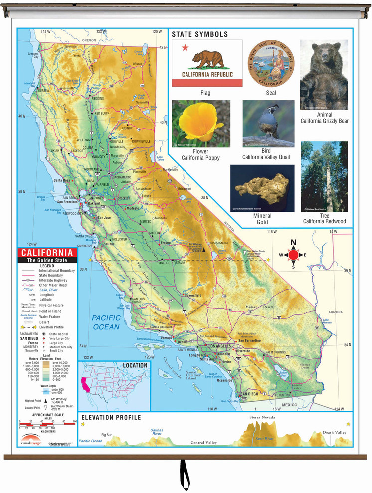 California State Primary Thematic Classroom Map on Spring Roller from Kappa Maps