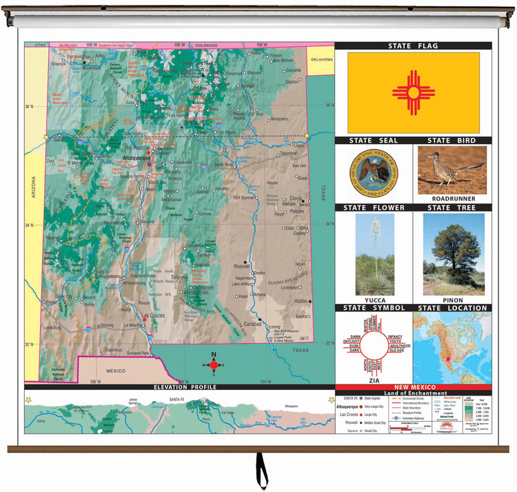 New Mexico State Primary Thematic Classroom Map on Spring Roller from Kappa Maps