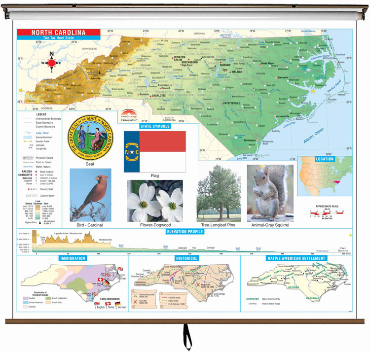 North Carolina State Primary Thematic Classroom Map on Spring Roller from Kappa Maps