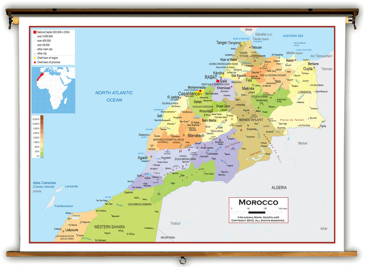 Morocco Political Educational Map from Academia Maps