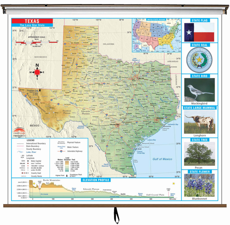Texas State Primary Thematic Classroom Map on Spring Roller from Kappa Maps
