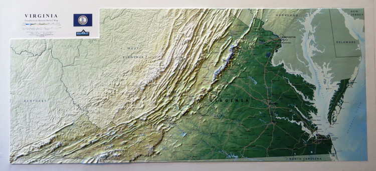 Virginia Geophysical Raised Relief Map