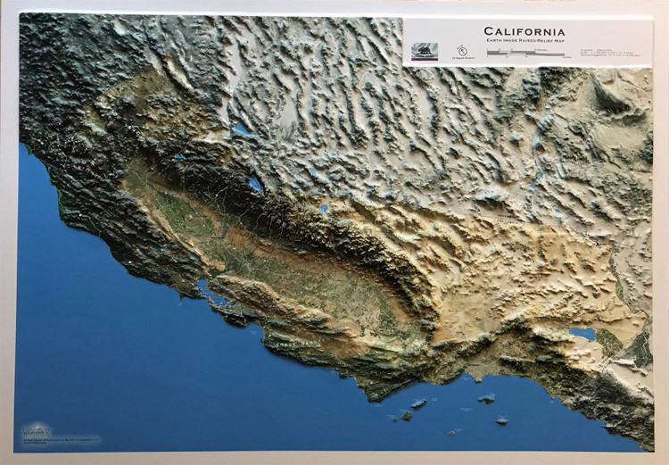 California 3D Earth Image Raised Relief Map