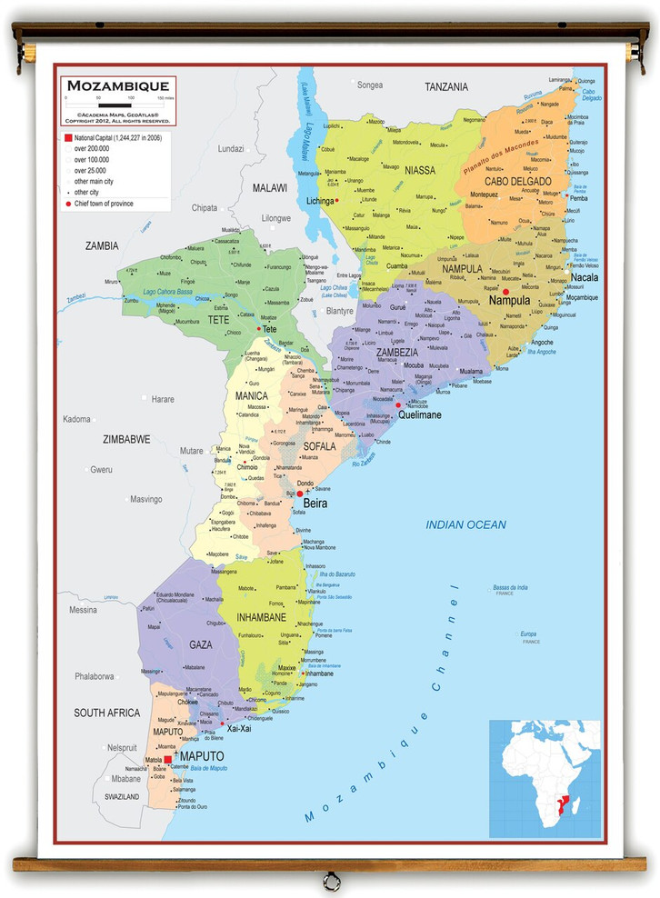 Mozambique Political Educational Map from Academia Maps