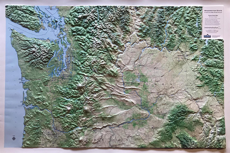 Washington State Airports & Airspace Raised Relief Map