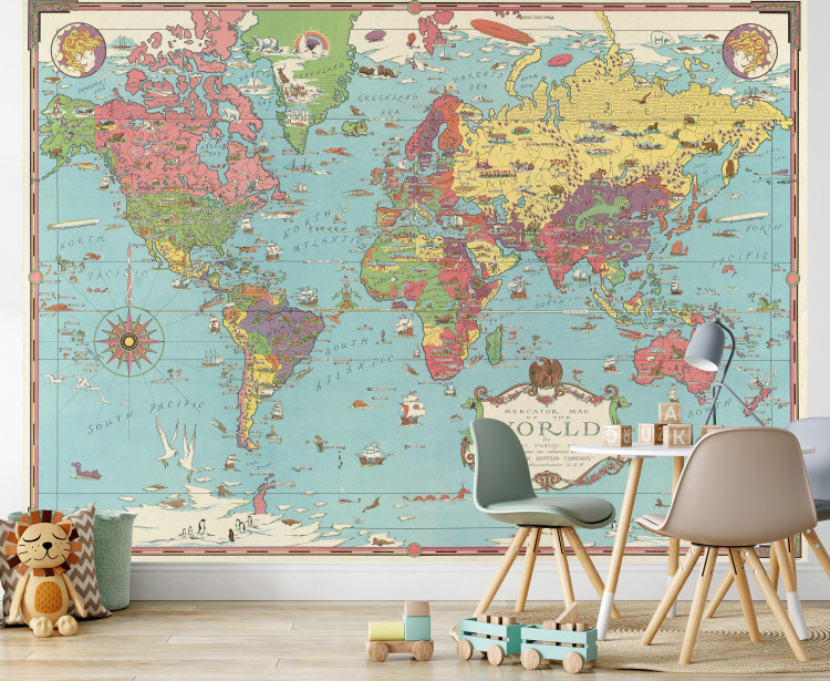 Vintage 1931 Illustrated World Map Wall Mural