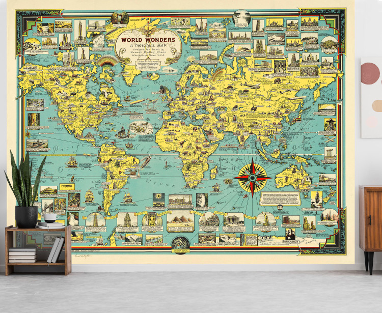 Vintage 1939 Illustrated Pictorial World Map Wall Mural