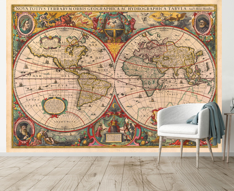Antique World Map Mural - Old World 1630 Wallpaper Map