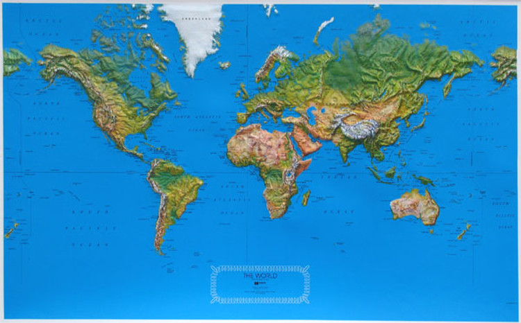 Natural Color Raised Relief World Map
